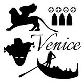 Venice flat icons. Stock Photos