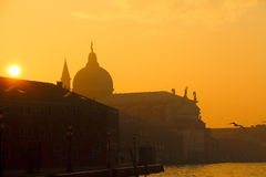 The Venice in fog at sunset Royalty Free Stock Photo