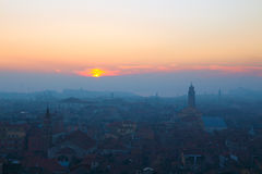 The Venice in fog at sunset Royalty Free Stock Photography