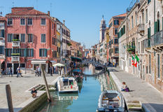 Venice - Fondamenta Giardini street and Campo san Barnaba square. Stock Photos