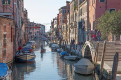 Venice - Fondamneta Gasparo Contrarini street and canal Rio Madonna. Royalty Free Stock Photos