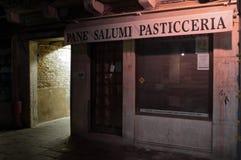 Venice Italy food store at night stock photos