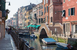 Venice - Fundamenta and canal Rio di Santa Anna in evening light Stock Photography