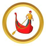 Venice gondola and gondolier vector icon Royalty Free Stock Photos