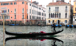 Venice with gondola on Grand canal Royalty Free Stock Photo