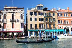 Venice with gondola on Grand canal Stock Photo