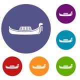 Venice gondola icons set Stock Images