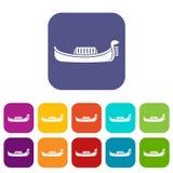 Venice gondola icons set Stock Photos