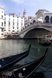 Venice - Gondola Series. Part of the make-up of Venice are the Gondolas and the Gondaliers. One of the busiest areas is the Rialto Bridge Stock Photos