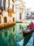 Venice gondola. On water canal royalty free stock photography