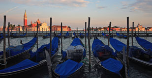 Venice and gondolas. Image of st. giorgio island, Venice with gondolas in foreground Royalty Free Stock Photo