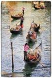 Venice. Gondolas, artwork in painting style Royalty Free Stock Image