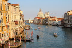 Venice. Gondolas and boats in Venice canals Royalty Free Stock Images