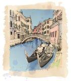 Venice.2 gondolas. Campo S.Maria Formosa. 2 gondolas. Ponte del Mondo Novo, Campo S.Maria Formosa. Venice, Italy royalty free illustration