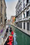 Venice gondolas on a channel Royalty Free Stock Image