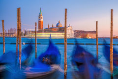 Venice with gondolas in the evening in Italy Stock Images