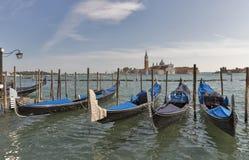 Venice gondolas in front of San Giorgio Maggiore island, Italy. Stock Image