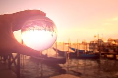 Venice and Gondolas in a glass ball royalty free stock image