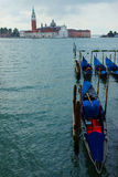 Venice with gondolas on Grand Canal against San Giorgio Maggiore Royalty Free Stock Photography