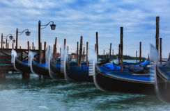 Venice. Gondolas on Grand Canal early in the morning before sunrise Royalty Free Stock Photos