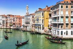 Venice, gondolas on Grand canal Stock Photography
