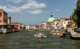 Venice. And gondolas, Grand Canal and palaces, summer Stock Image