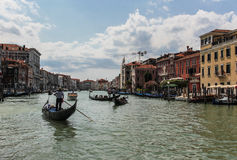 Venice. And gondolas, Grand Canal and palaces, summer Royalty Free Stock Photo