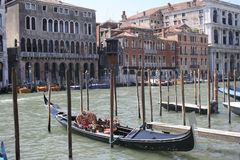 Venice, gondolas on the Grand Canale. House on the water, gondolas venice royalty free stock photo