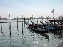 Venice gondolas - Italian afternoon. Venice gondolas in Italy, in the end of the afternoon Royalty Free Stock Image