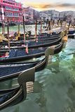 Venice with gondolas in Italy. Venice with gondolas on Grand canal in Italy Royalty Free Stock Images