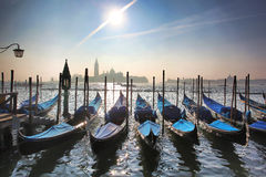 Venice with gondolas in Italy. Venice with gondolas on Grand canal in Italy Stock Photos