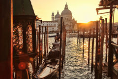 Venice with gondolas in Italy. Venice with gondolas on Grand canal in Italy Stock Photography