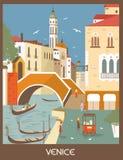 Venice. Gondolas in Venice, Italy in sunny day vector illustration