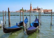 Venice - Gondolas moored by Saint Mark square Royalty Free Stock Photos