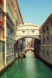 Venice. Gondolas passing over Bridge of Sighs Royalty Free Stock Images