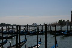 Venice, gondolas in Piazza San Marco royalty free stock photography