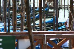 Venice, gondolas in Piazza San Marco stock photos