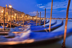 Venice Gondolas Row Sunrise Stock Image