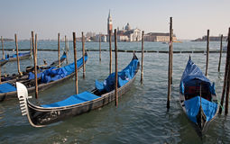Venice - gondolas and San Giorgio di Magiore chur Royalty Free Stock Photos