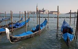Venice - gondolas and San Giorgio di Magiore chur Royalty Free Stock Photos