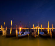 Venice. Gondolas and San Giorgio Maggiore church at night. San Marco, Venice, Italy Royalty Free Stock Photography