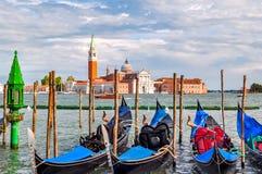 Venice gondolas and San Giorgio Maggiore island, Italy stock photography