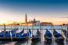 Venice gondolas on San Marco Royalty Free Stock Images
