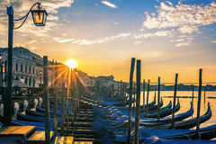 Venice with gondolas at sunrise Royalty Free Stock Images