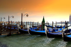 Venice gondolas at sunset Royalty Free Stock Image
