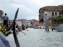 Venice-Gondolas under cloudy sky Royalty Free Stock Image