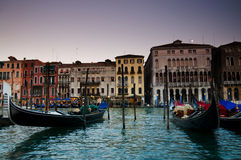 Venice gondolas and venitian buildings Royalty Free Stock Photos
