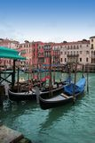 Venice: Gondolas waiting for a romantic ride Royalty Free Stock Images