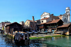 Venice, gondolas workshop royalty free stock images