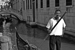 Venice gondolier B&W Royalty Free Stock Photos